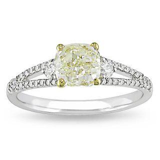 Miadora 18k Gold 1 1/3ct TDW Yellow and White Diamond Ring (G H, VS1