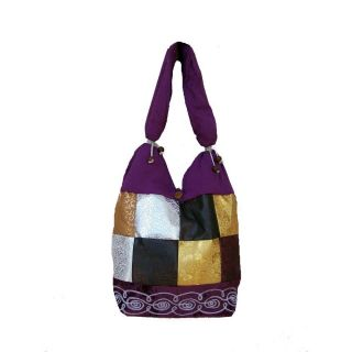 Cotton and Polyester Purple Urban Gypsy Shoulder Bag (Inda