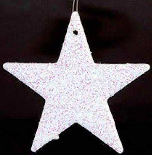 144   2 White Glitter Star Ornaments Winter Wedding
