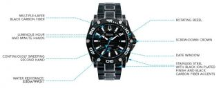 Bulova Mens 98B153 Precisionist Champlain Steel + black ion Watch