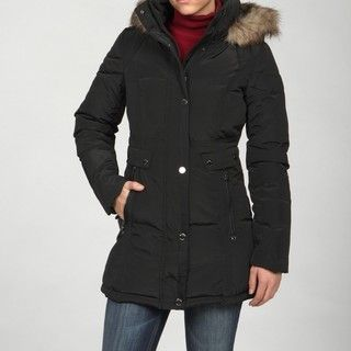 Laundry Womens Black Faux fur Hooded Coat