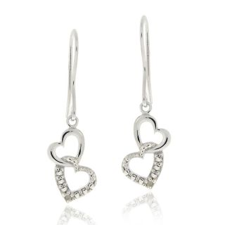 DB Designs Sterling Silver Diamond Accent Interlocking Hearts Dangle