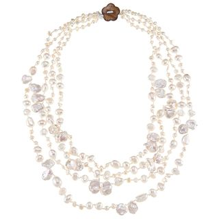 White FW Baroque and Keshi Pearl Multi strand Necklace (3 11 mm