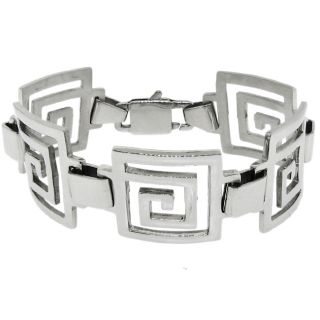 Stainless Steel Greek Key Cutout Link Bracelet