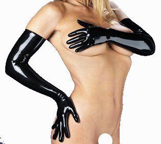 Echt Latex Handschuhe Gloves, im Paar, Schwarz, 58cm lang