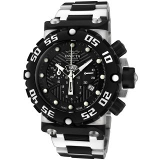 Invicta Mens Subaqua Stainless Steel & Black Rubber Chrono Watch