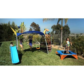 Ironkids Premier 550 Fitness Playground Swing Set with Rope Climb and
