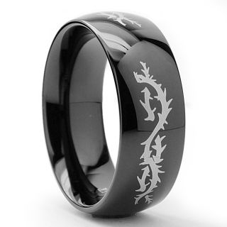 Mens Black plated Stainless Steel Barbed Wire Ring (8mm)