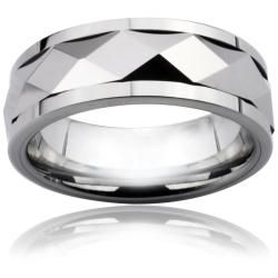 Mens Tungsten Carbide Diamond Faceted Spinner Ring (8 mm)