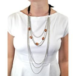 Silvertone Brown Bead Black Bow Layered Necklace