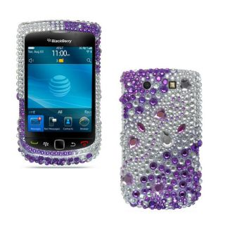 Premium BlackBerry 9800 Purple Silver Rhinestone Case
