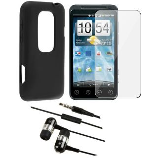 piece Black Silicone Case/ Screen Protector/ Headset for HTC EVO 3D