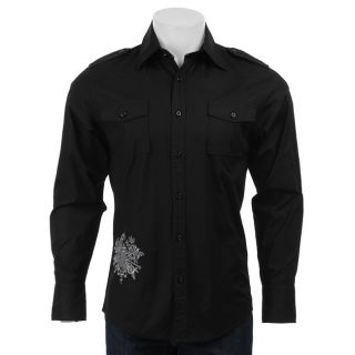 210 Mens Black Crown Woven Shirt