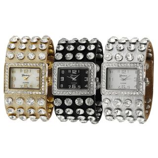 Geneva Platinum Rhinestone Studded Watch