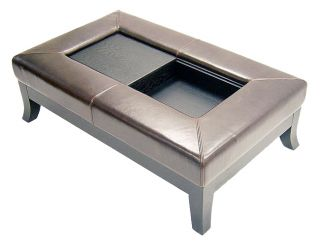 Dark Brown Bi cast Leather Storage Ottoman and Coffee Table