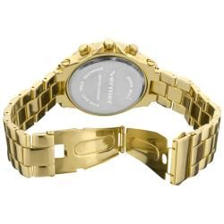 Vernier Womens Large Gold Tone Chrono  Dial Dual Time Watch