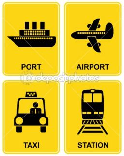 Airport, station, taxi, port  Stock Vector © Chetverikov Daniil