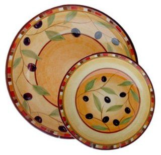 222 Fifth Tuscan Olive 5 Piece Pasta Set, Service for 4