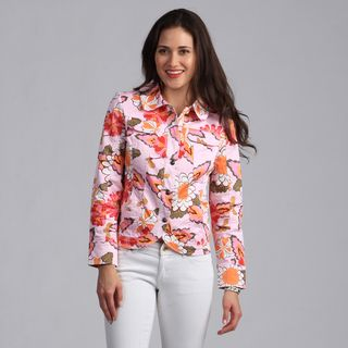 Live A Little Womens Pink Floral Printed Casual Jacket