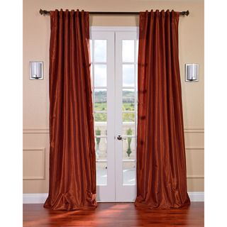 Burnt Orange Vintage Faux Dupioni Silk 108 inch Curtain Panel