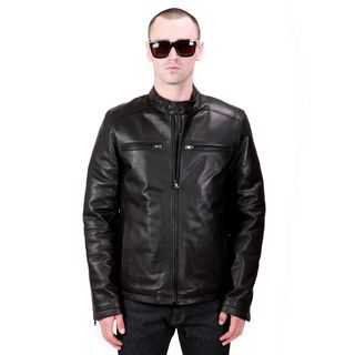 United Face Mens Black Lambskin Leather Biker Motorcycle Jacket