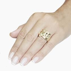 Adee Waiss 18k Goldplated Clear Crystal Cherry Blossom Ring