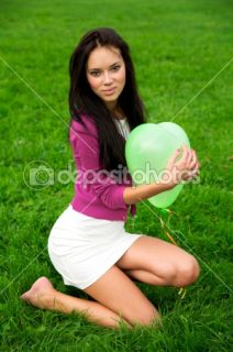 Beautiful girl holding balloon  Stock Photo © Сергей