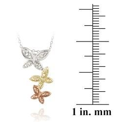 DB Designs Tri color Sterling Silver Diamond Accent Butterfly Necklace