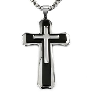 West Coast Jewelry Stainless Steel Black Plated Cross Pendant Necklace