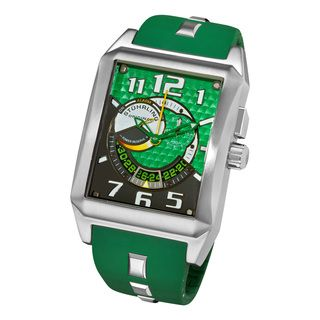 Stuhrling Original Mens Mad Man Complex Green Rubber Strap Swiss