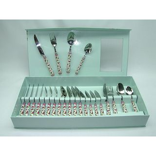 Fabulous Threestar Pink Floral 24 piece Flatware Set