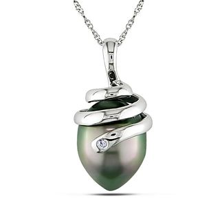 Miadora 14k White Gold Black Tahitian Pearl Necklace (10 11 mm