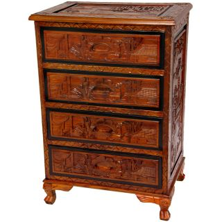 Wood Carved Two tone Four Drawer Chest (China)