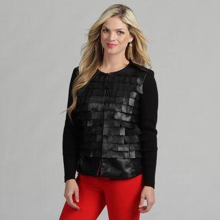 Live A Little Womens Black Flirty Collarless Jacket