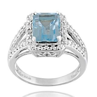 Glitzy Rocks Silver 3 1/4ct TGW Blue Topaz and Diamond Accent Ring