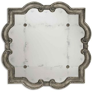 Prisca Distressed Silver Small Antique Framed Mirror