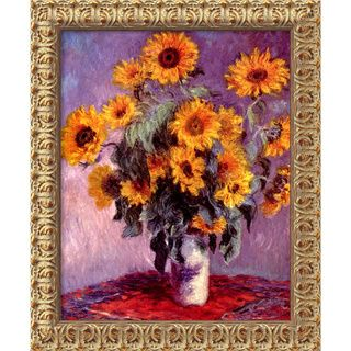 Claude Monet Sunflowers, 1881 Framed Canvas Art