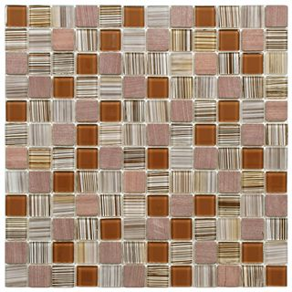 SomerTile 11.5x11.5 inch Chroma Square Cocoa Glass and Stone Mosaic