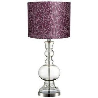 Purple Lines Clear Glass Vase Table Lamp Home Improvement