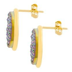 Fremada Gold over Sterling Silver Round Drusy Stud Earrings