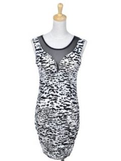 Anna Kaci S/M Fit White Black Snow Leopard Print Slim Body