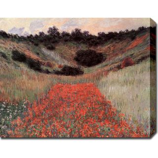Claude Monet Poppy Field in Hallow Gallery wrapped Canvas Art