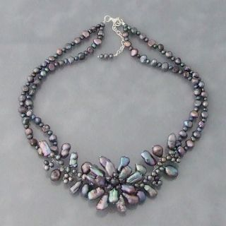 All Natural Black Pearl Floral Beaded Necklace (4 21 mm) (Thailand