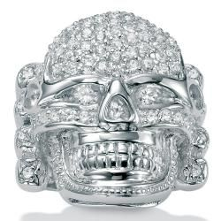 Ultimate CZ Sterling Silver Cubic Zirconia Skull Ring