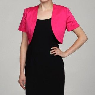 Jessica Howard Womens Plus Size Fuschia Short Sleeved Bolero Jacket