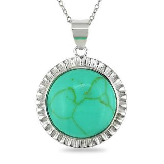 Sterling Silver Round cut Turquoise Necklace