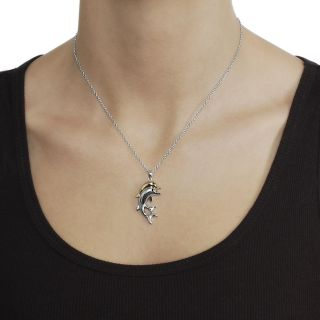 Journee Collection Two tone Black CZ Dolphin Necklace