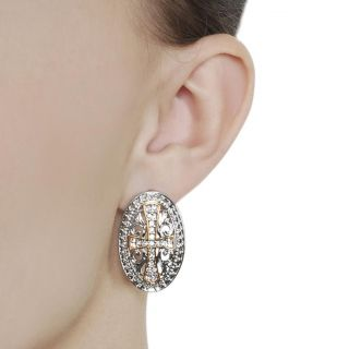 Tressa Two tone Pave set CZ Cross Earrings