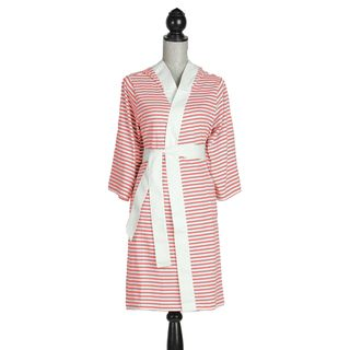 Womens Organic Cotton White and Rose Stripe Robe