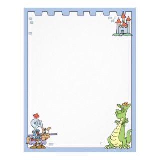 Fairy Tale Knight and Dragon Personalized Letterhead